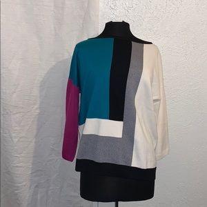 St. John Colorblock Knit Sweater L